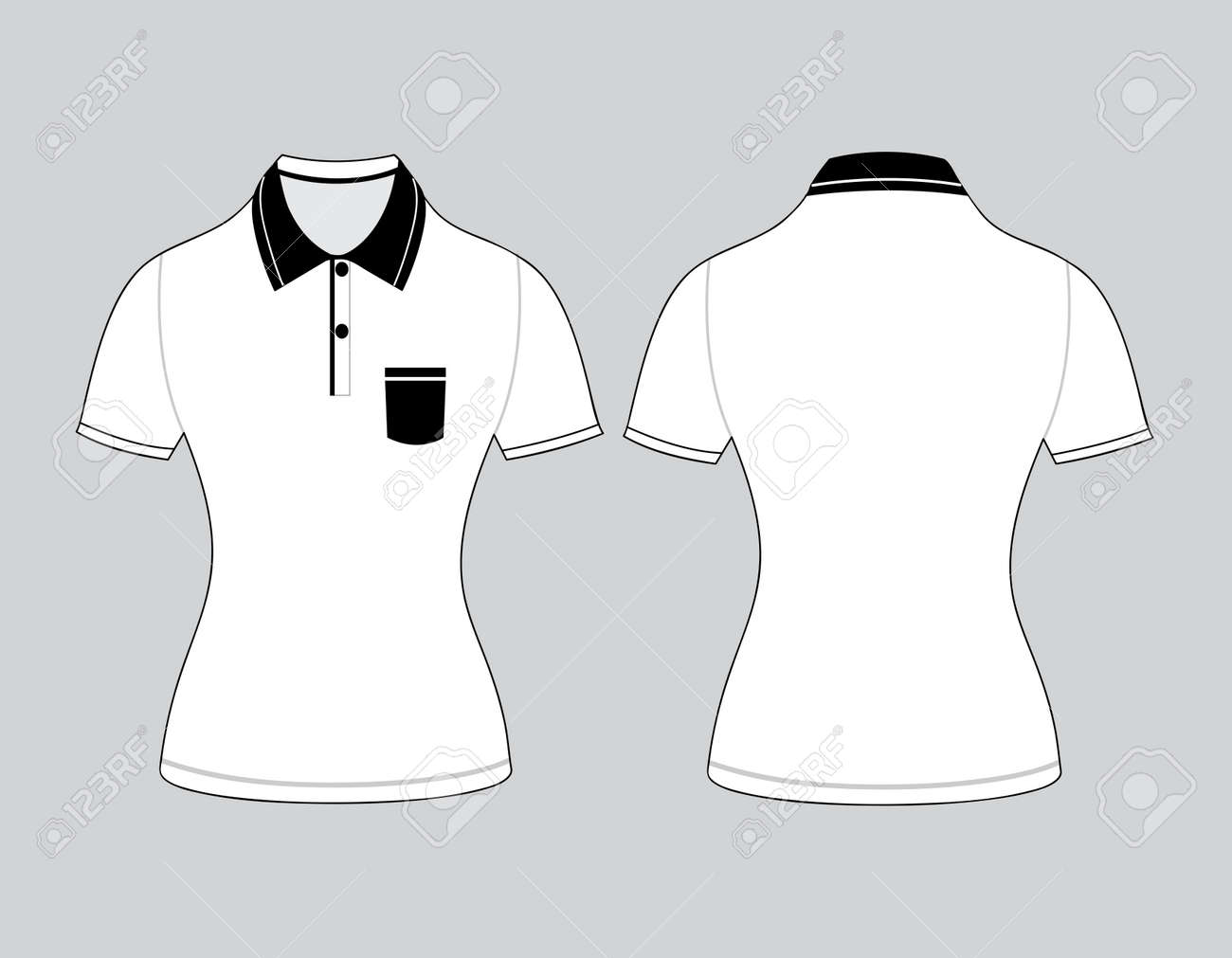 Polo Woman Shirt Design Templates (front And Back Views). Vector ...