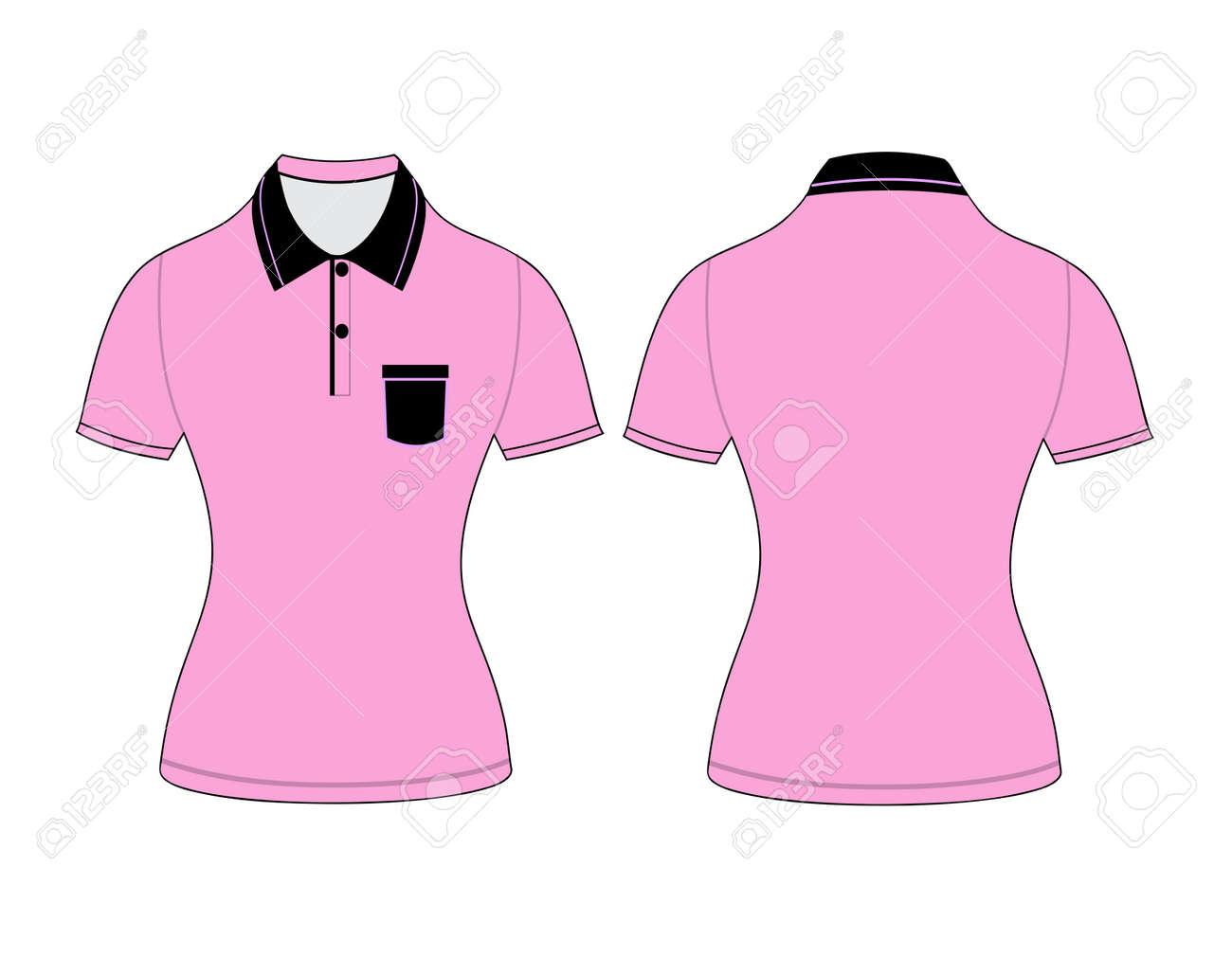 Polo Mujer Camiseta Plantillas De Diseño (frontal Y Trasera Puntos ...
