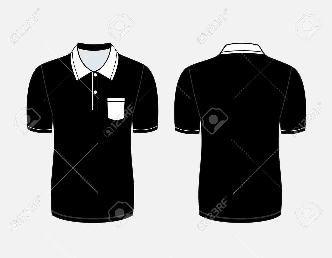 Black t shirt front and back - Black T Shirt Vector Front And Back Vector Vector Illustration Of Black Polo T Shirt