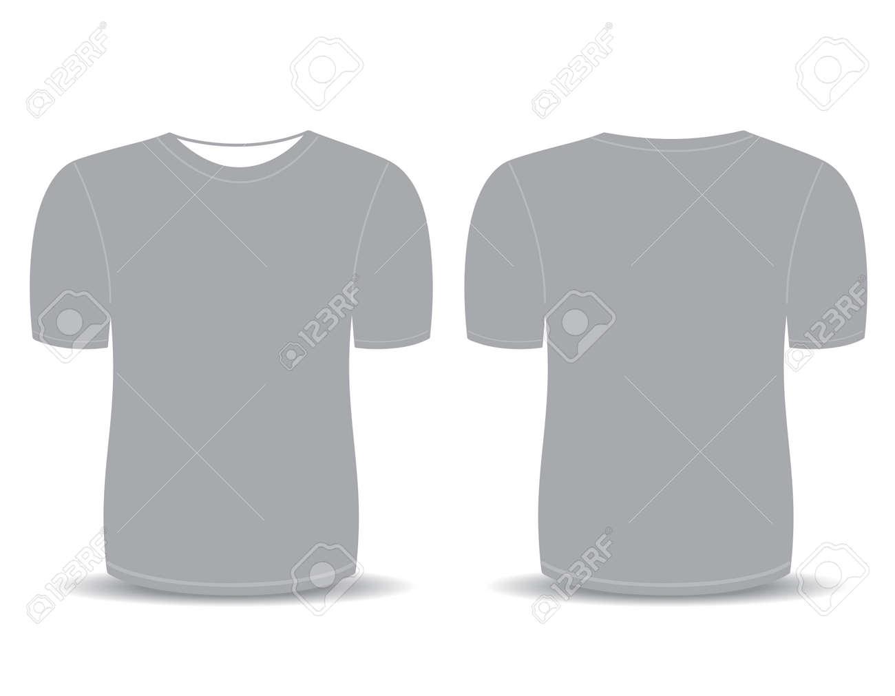 ブランク t シャツ男性 前面と背面の意見 のための灰色のテンプレート