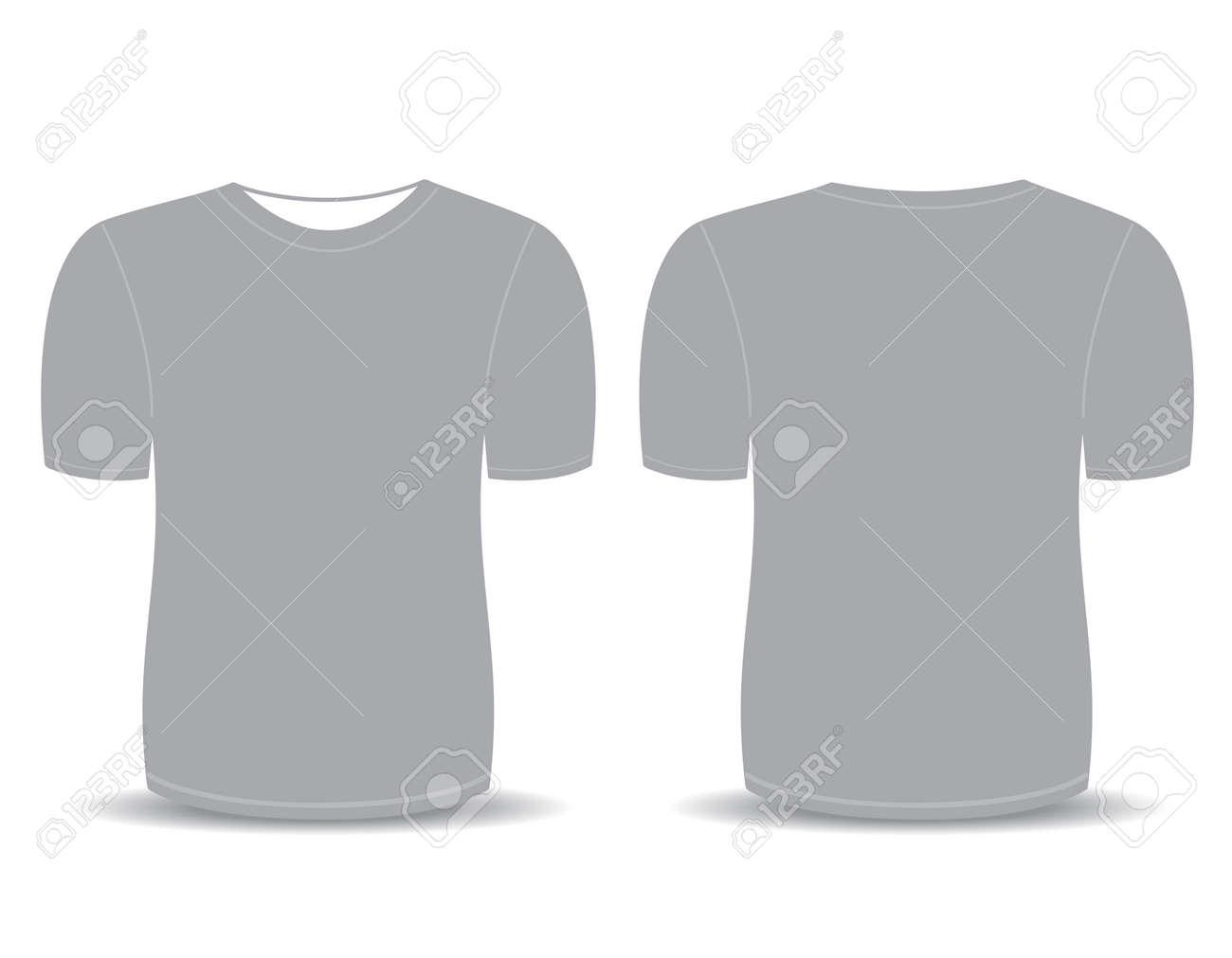 Blank T Shirt Gray Template For Men Front And Back Views Stock Vector