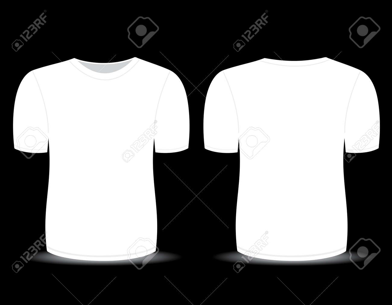c6174054 Blank t-shirt white template for men (front and back views) Stock Vector