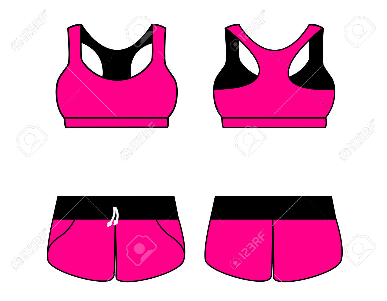 8b4632c3a06cf Vector - Vector illustration of women s sport underwear. Bra and shorts.  Front and back views