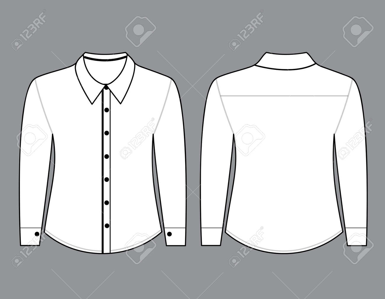 blank shirt with long sleeves template for men front and back