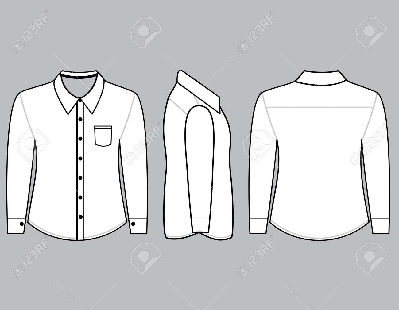 Blank Shirt With Long Sleeves Template For Men Frontback And Side Views