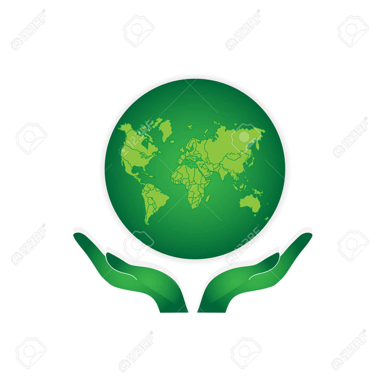 Hands Holding The Green Earth Globe Vector Royalty Free Cliparts