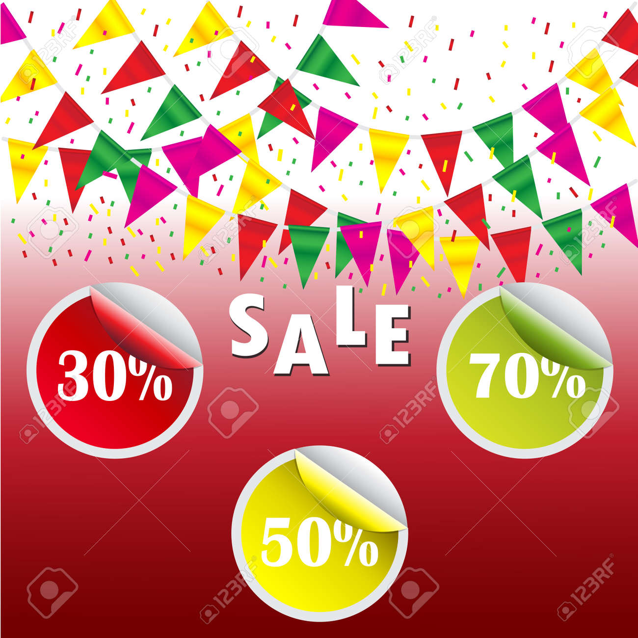 Celebrate banner party flags with sale poster and percent discount