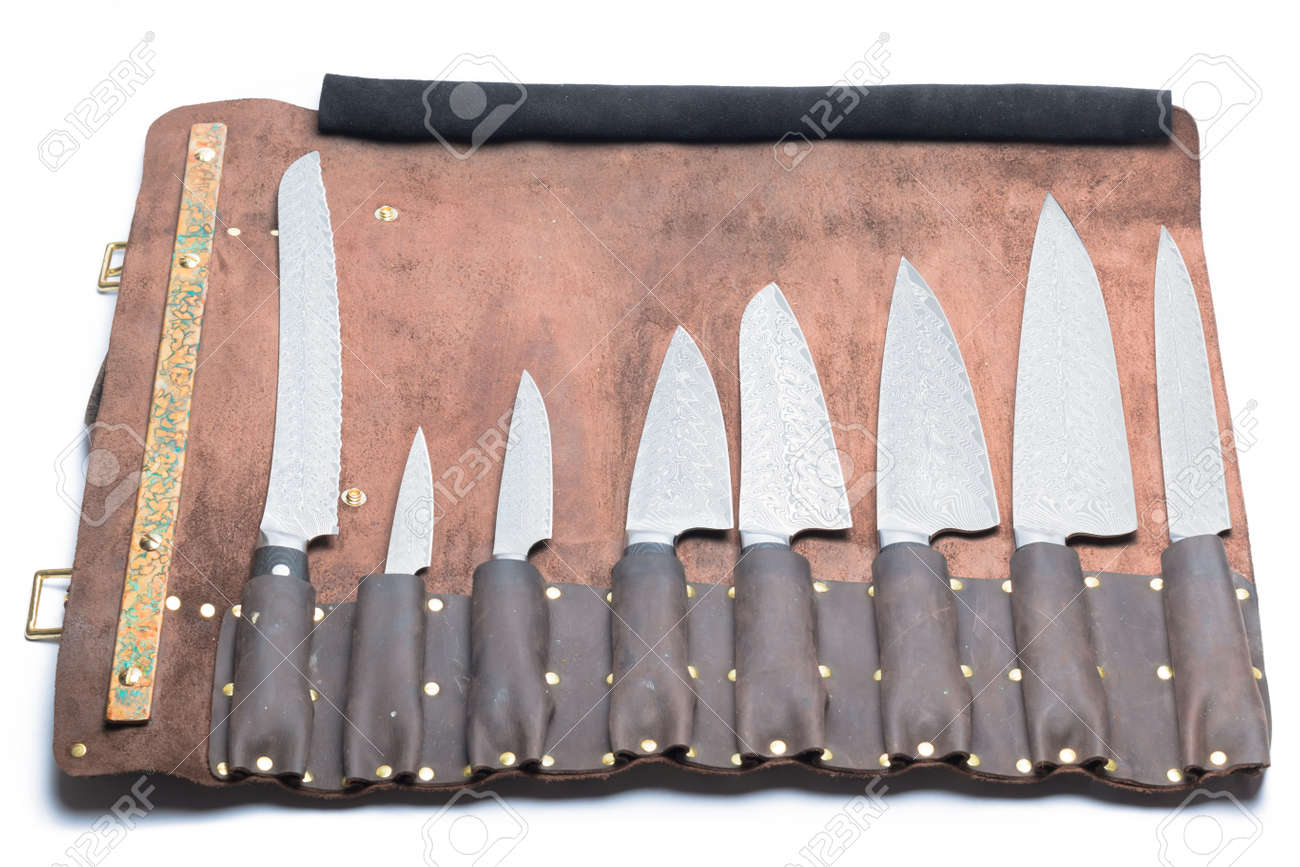 professional kitchen knife carbon set in leather case isolated professional kitchen knife carbon set in leather case isolated on white background stock photo 30773127