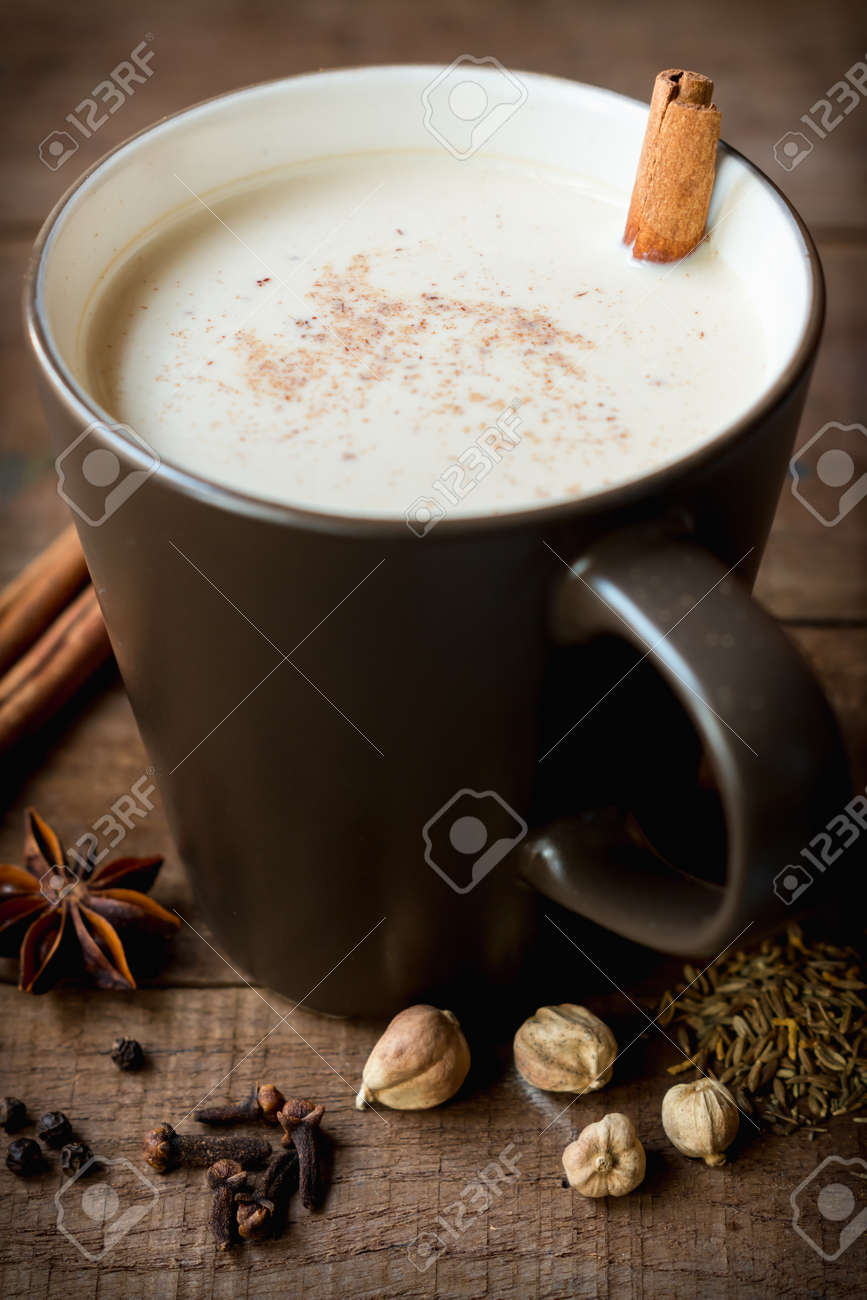 Masala Chai With Spices. Cinnamon Stick, Thai Cardamom, Ginger ...