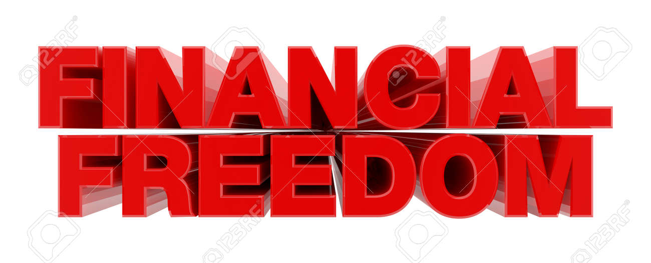 FINANCIAL FREEDOM red word on white background illustration 3D rendering - 130782801