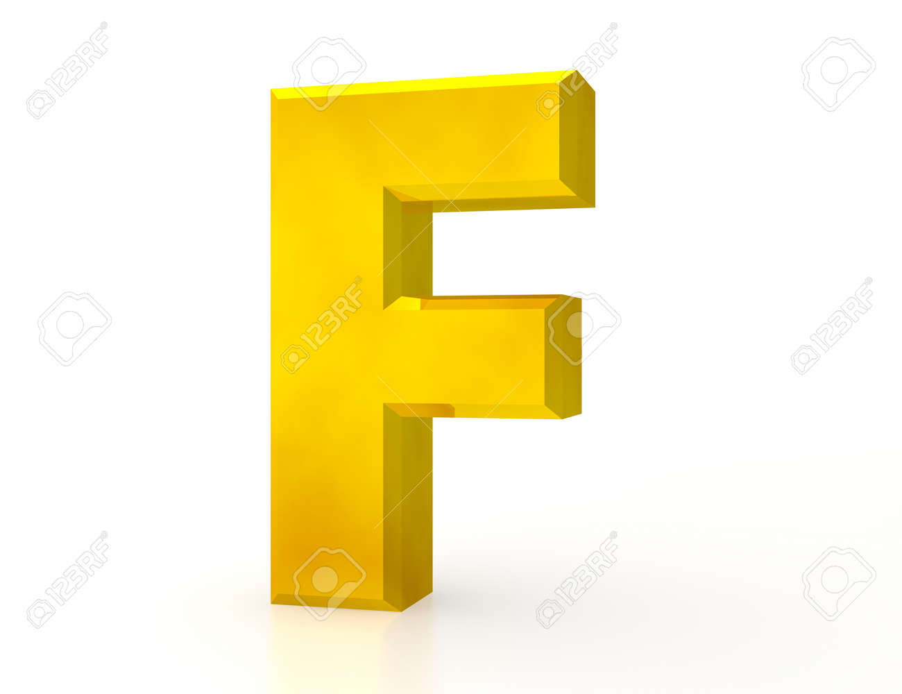 the Gold letter F on white background 3d rendering - 131434439