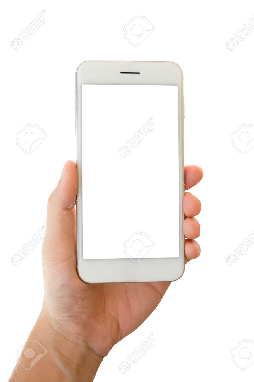 Man hand holding smartphone with blank screen isolated on white background - 131484915