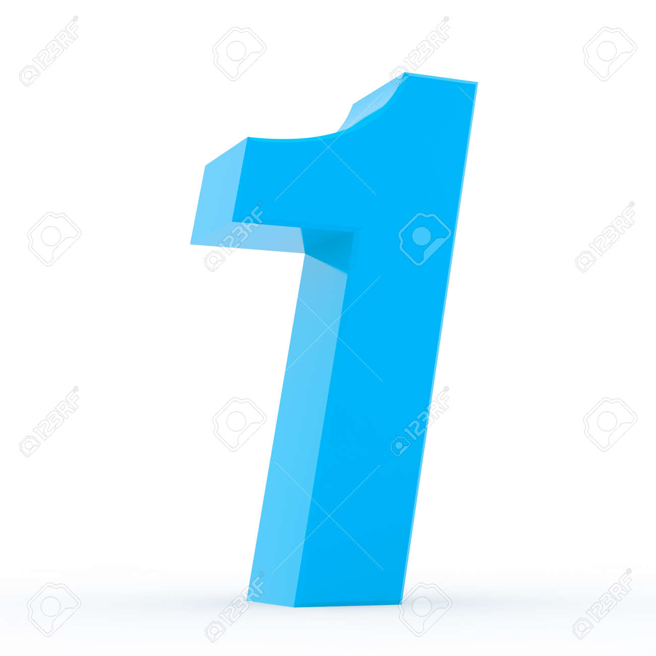 Number 1 blue collection on white background illustration 3D rendering - 131785682