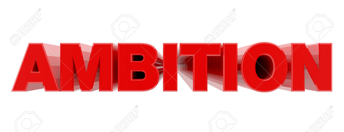 AMBITION red word on white background illustration 3D rendering - 137876377
