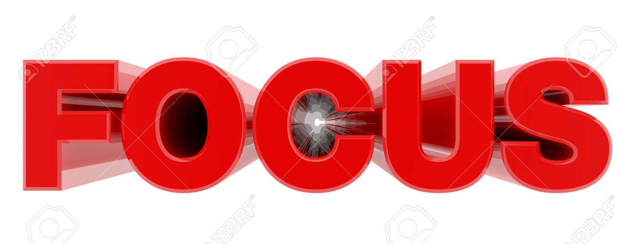 FOCUS red word on white background illustration 3D rendering - 137876400