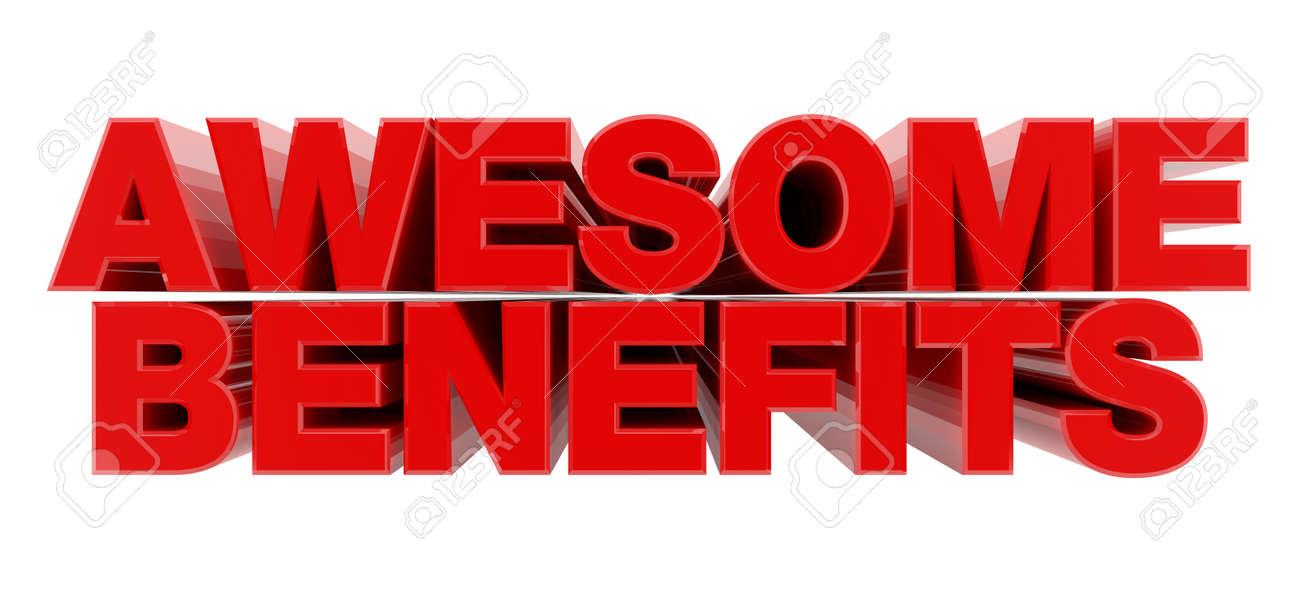 AWESOME BENEFITS red word on white background illustration 3D rendering - 137876468