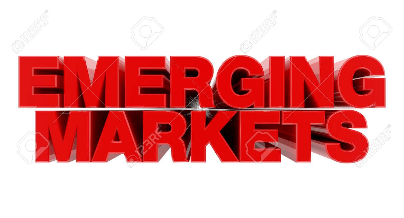 EMERGING MARKETS red word on white background illustration 3D rendering - 137876572