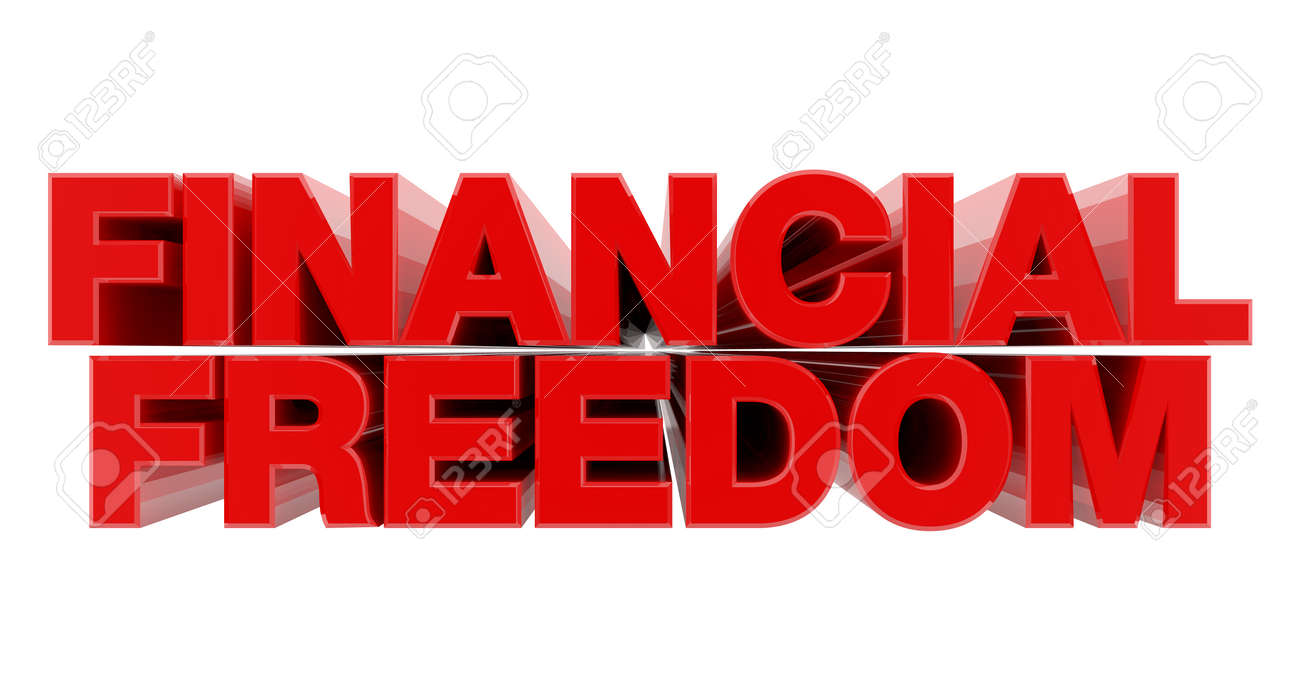 FINANCIAL FREEDOM red word on white background illustration 3D rendering - 137876577