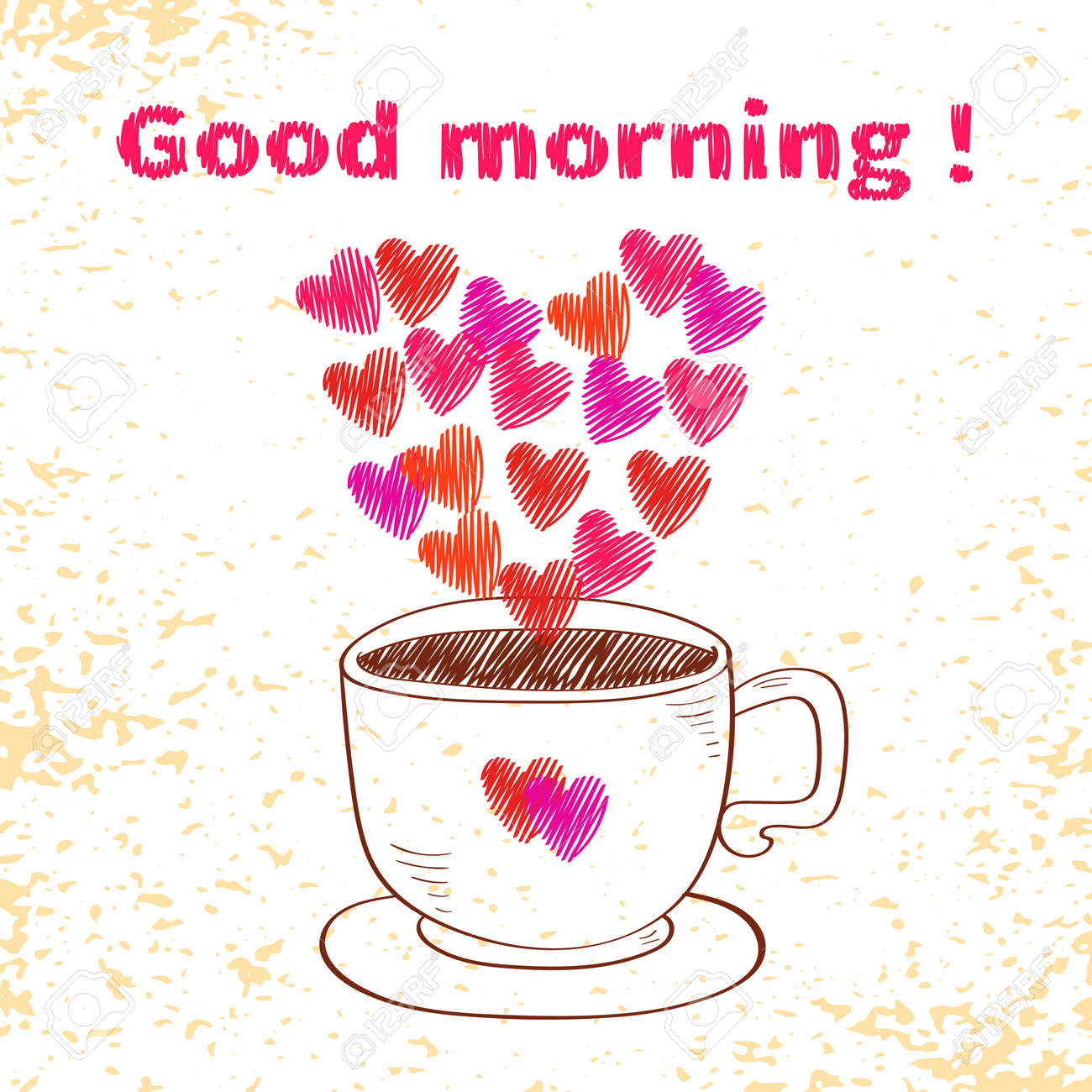Good Morning Card Sketchy Cup With Hearts As Steam Doodle Vector