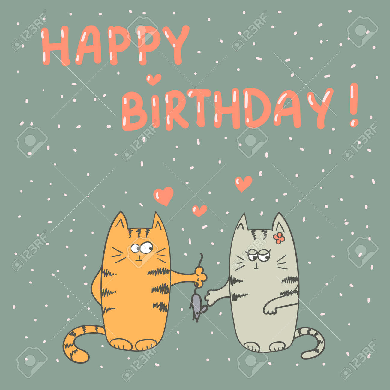 Happy Birthday Card With Cute Cats In Love Stock Vector
