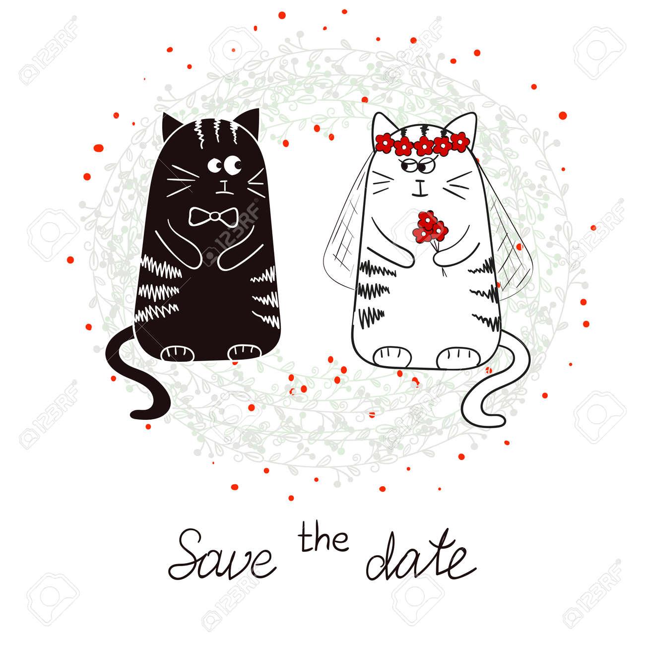 Schön Lustige Katzen, Braut Und Bräutigam. Hochzeitseinladung. Hand Gezeichnet  Vektor Illustration. Standard