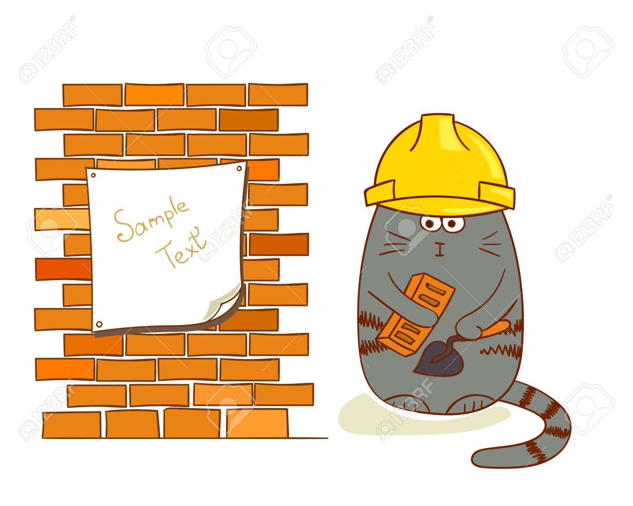 Cartoon Katze Baumeister In Der Nahe Von Mauer Lustige Bauarbeiter