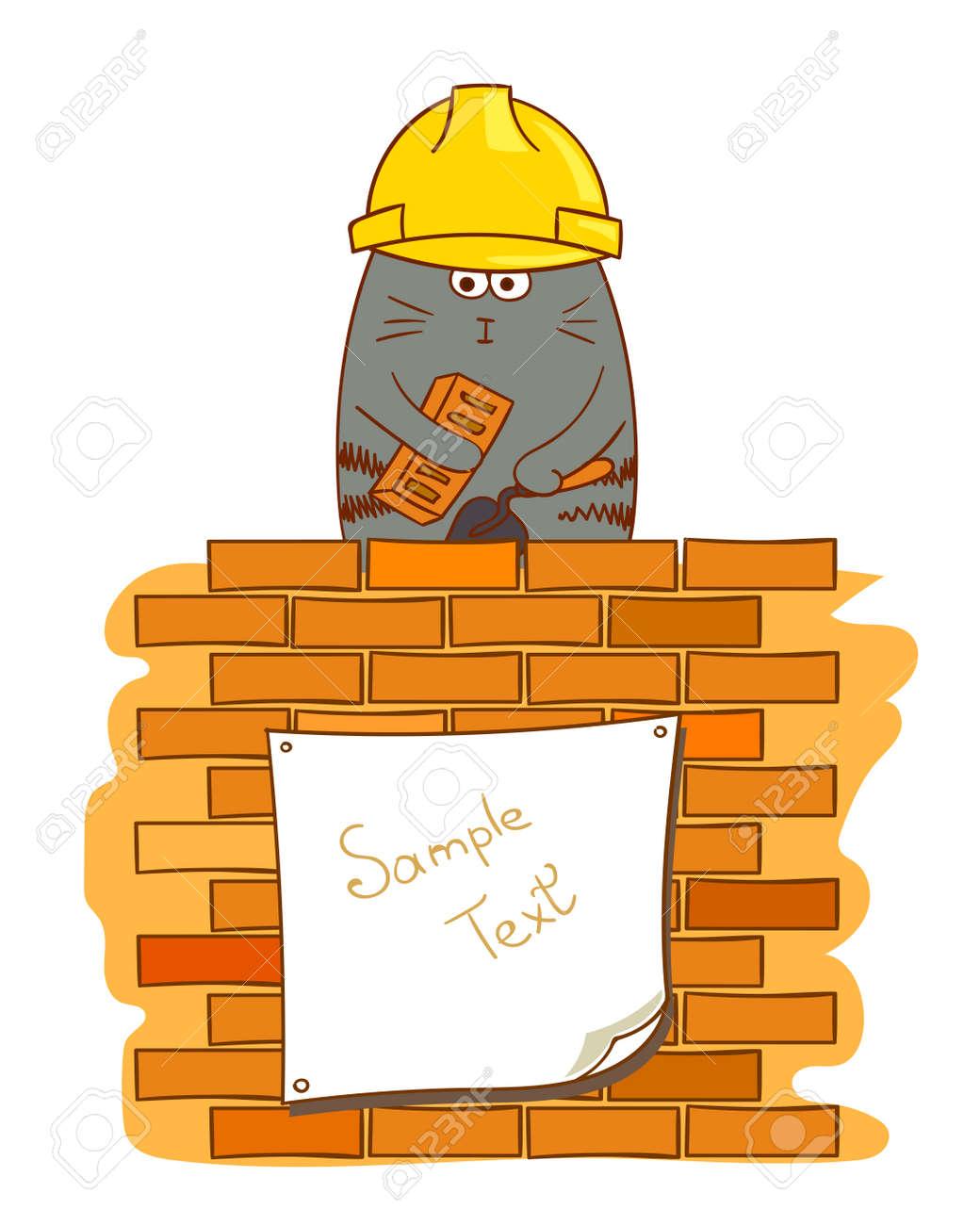 Cartoon Katze Maurer Lustige Bauarbeiter In Der Nahe Von Mauer