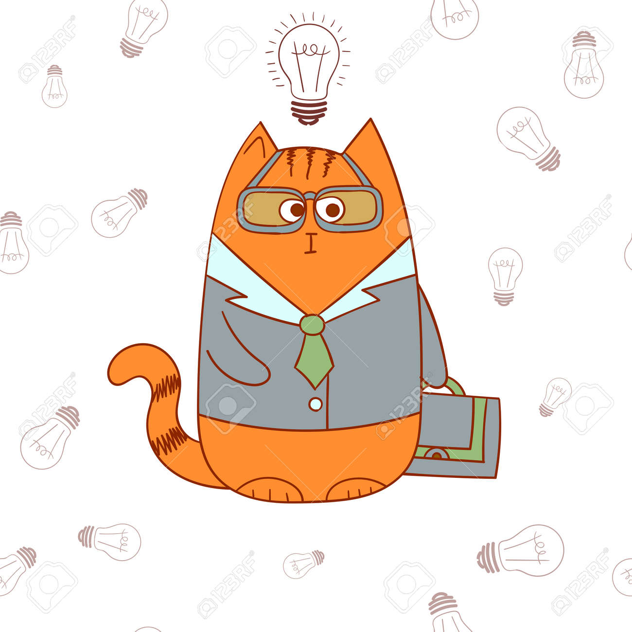 Cartoon Charakter Manager Katze Lustige Geschaftsmann Burokauffrau