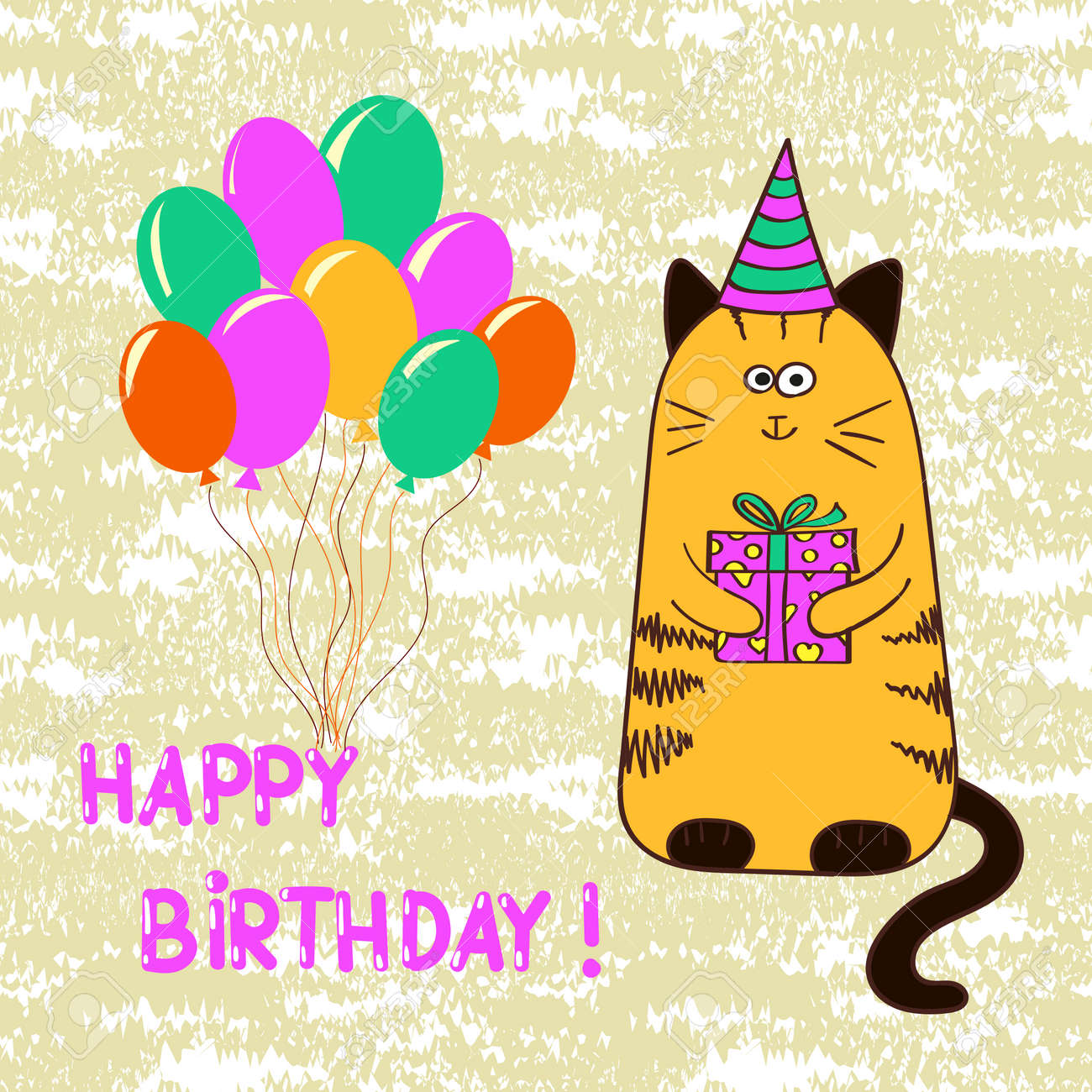 Happy Birthday Card Template With Cute Cat Vector Illustration Stock