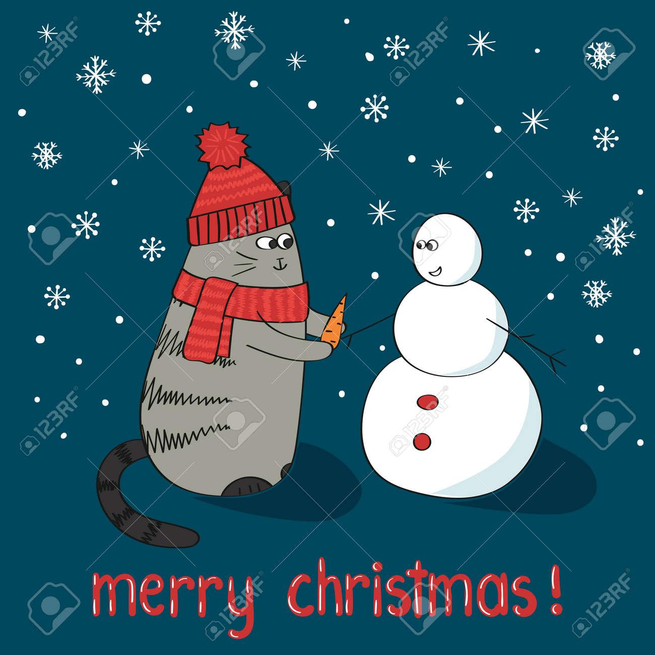 Merry Christmas Card Template Cute Cartoon Cat And Snowman
