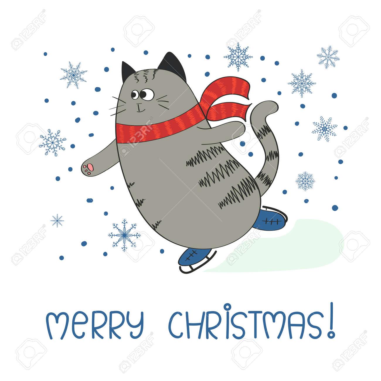 Frohe Weihnachten Katze.Stock Photo