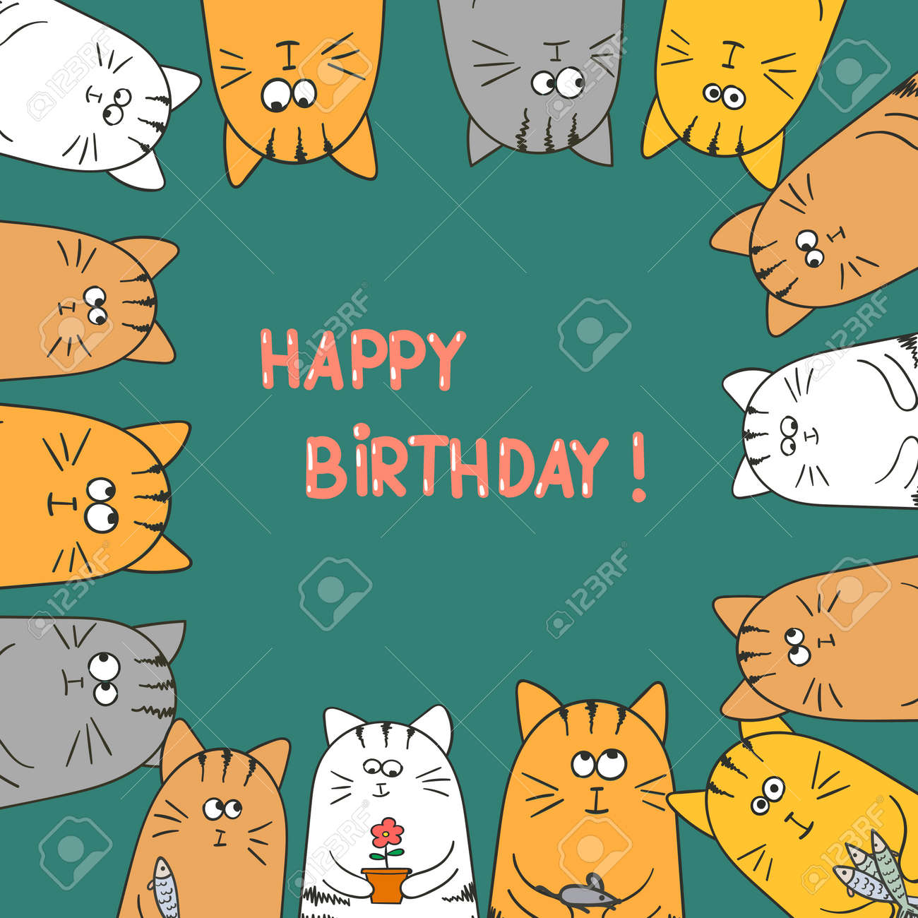 Cute Cats Happy Birthday Card Doodle Vector Illustration Stock