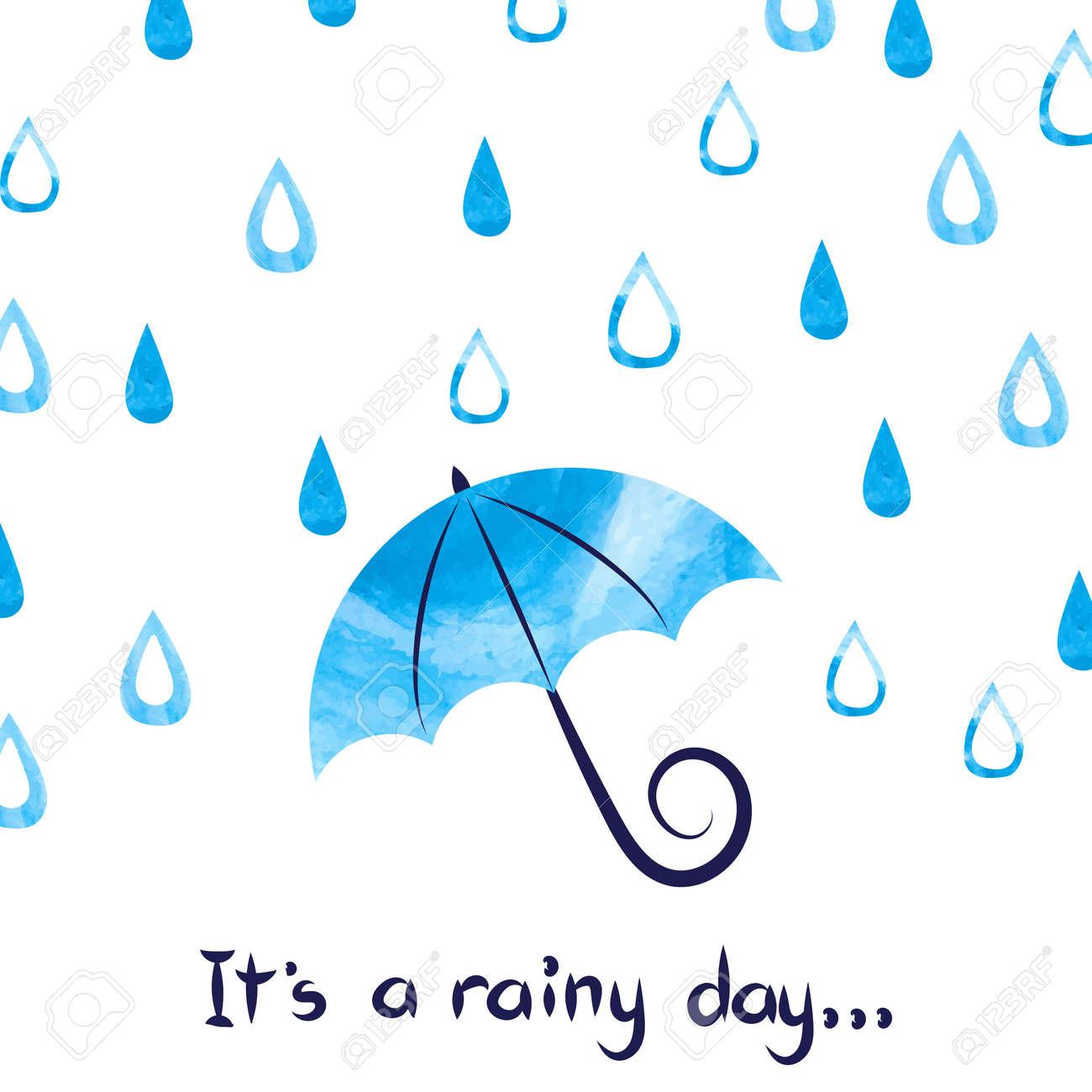 雨の日の背景。水彩ベクトル雨と傘のイラスト。 ロイヤリティフリー