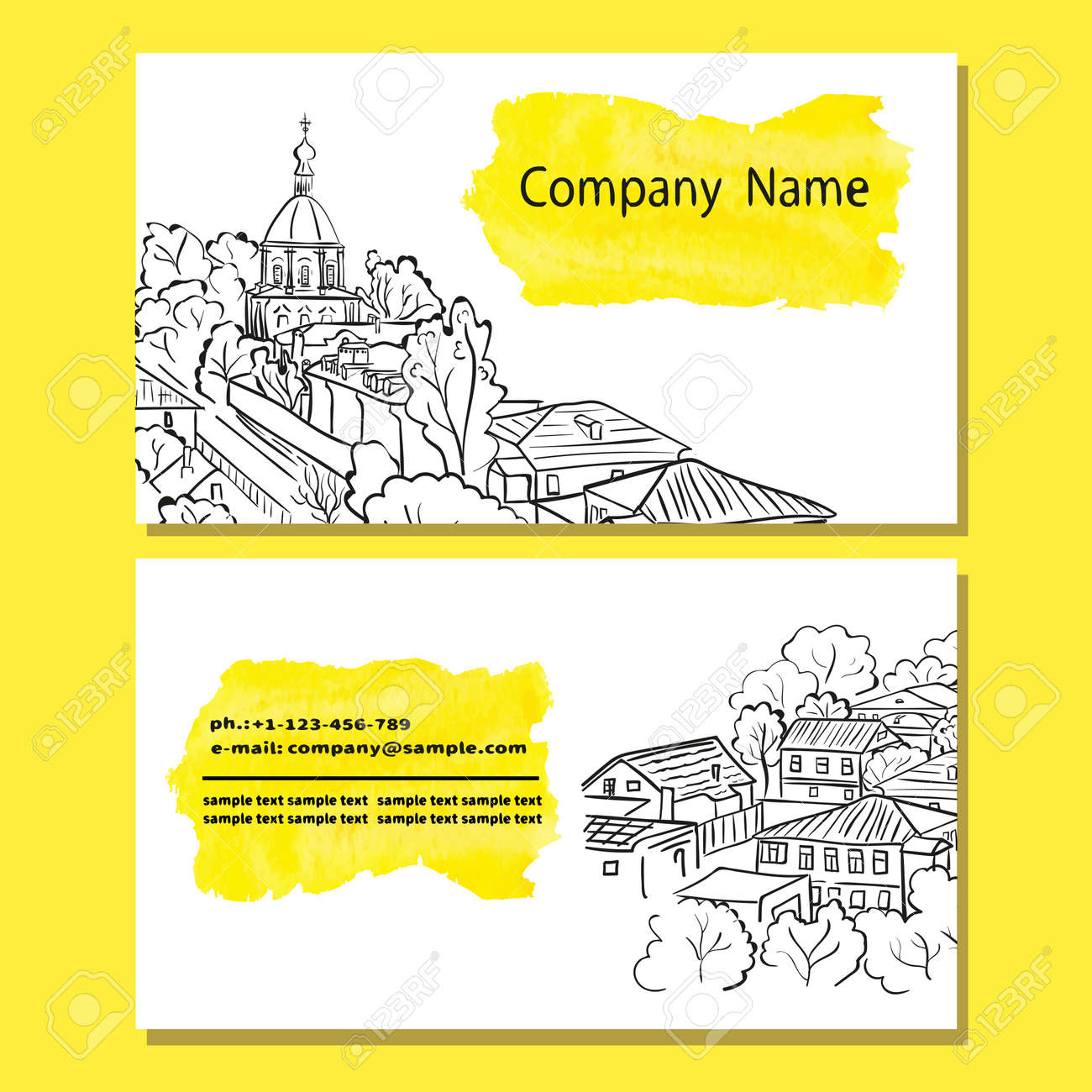 Business Card Design Templates With Sketch Cityscape Vector