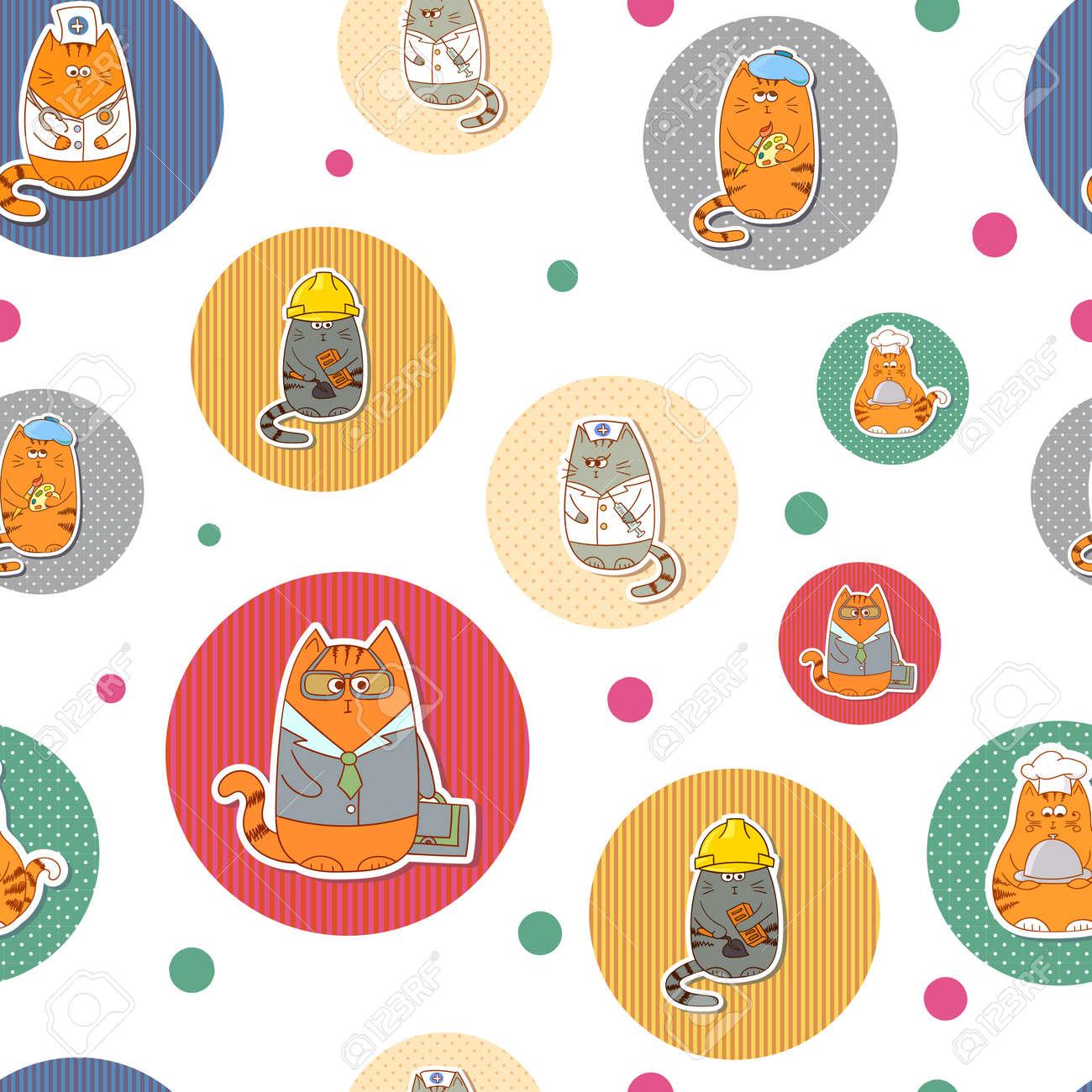Fondo De Círculos. Coloridos Patrones Sin Fisuras Con Gatos Lindos ...