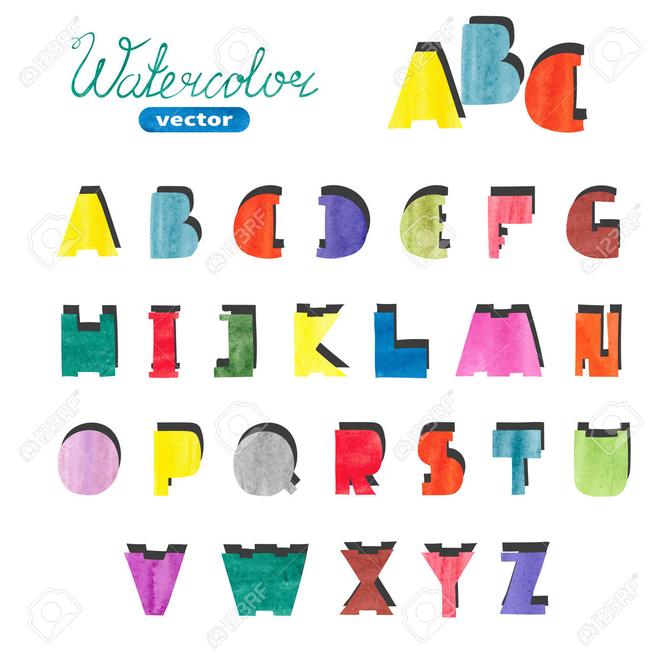 watercolor cute alphabet. colorful hand drawn letters for your