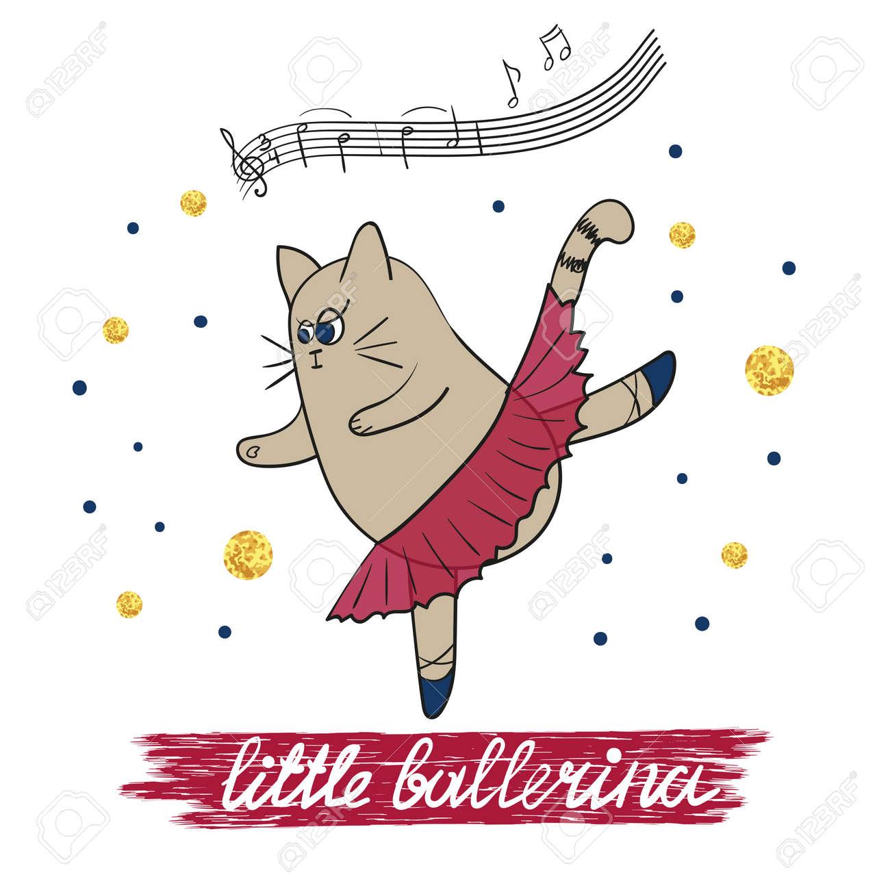 Poco Ilustración Vectorial Bailarina Adecuado Para La Tarjeta De Cumpleaños Invitación Del Partido Diseño De La Camiseta Gato Lindo Baile De La