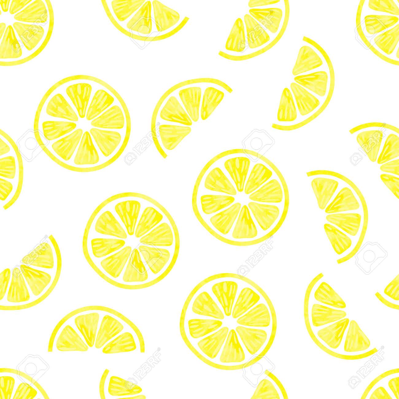 Watercolor Lemon Seamless Pattern Vector Background With Lemon