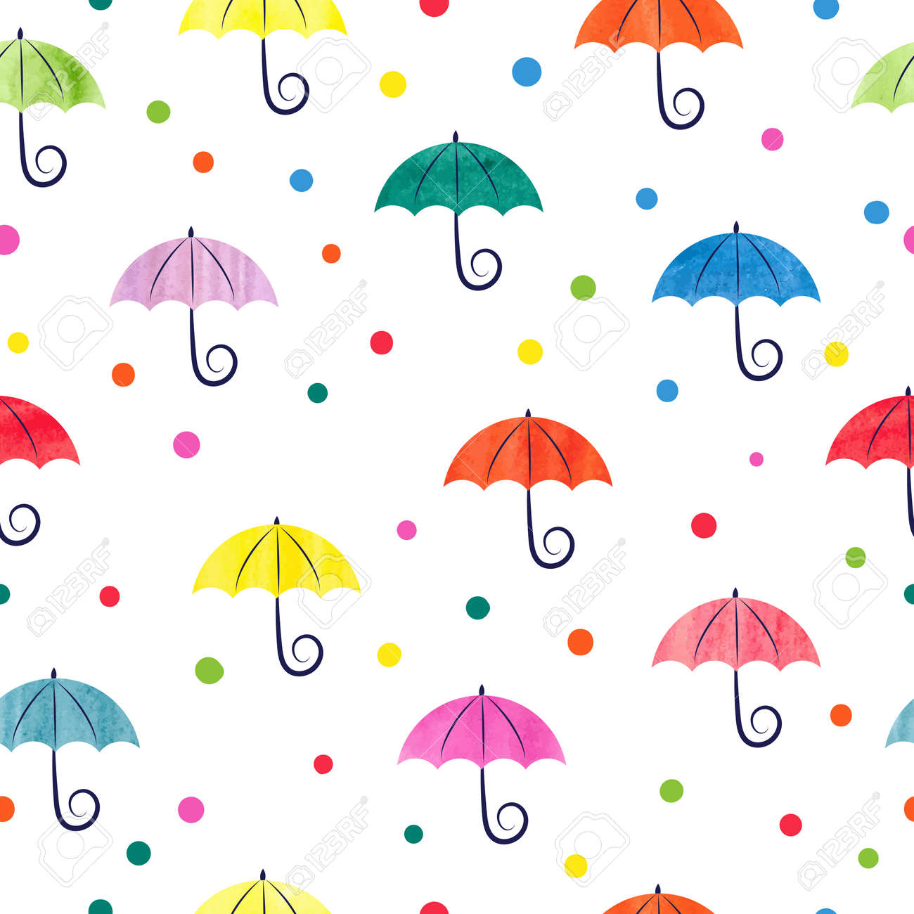 Watercolor Umbrellas Seamless Pattern Colorful Vector Illustration Suitable For Wallpaper Web Page Background