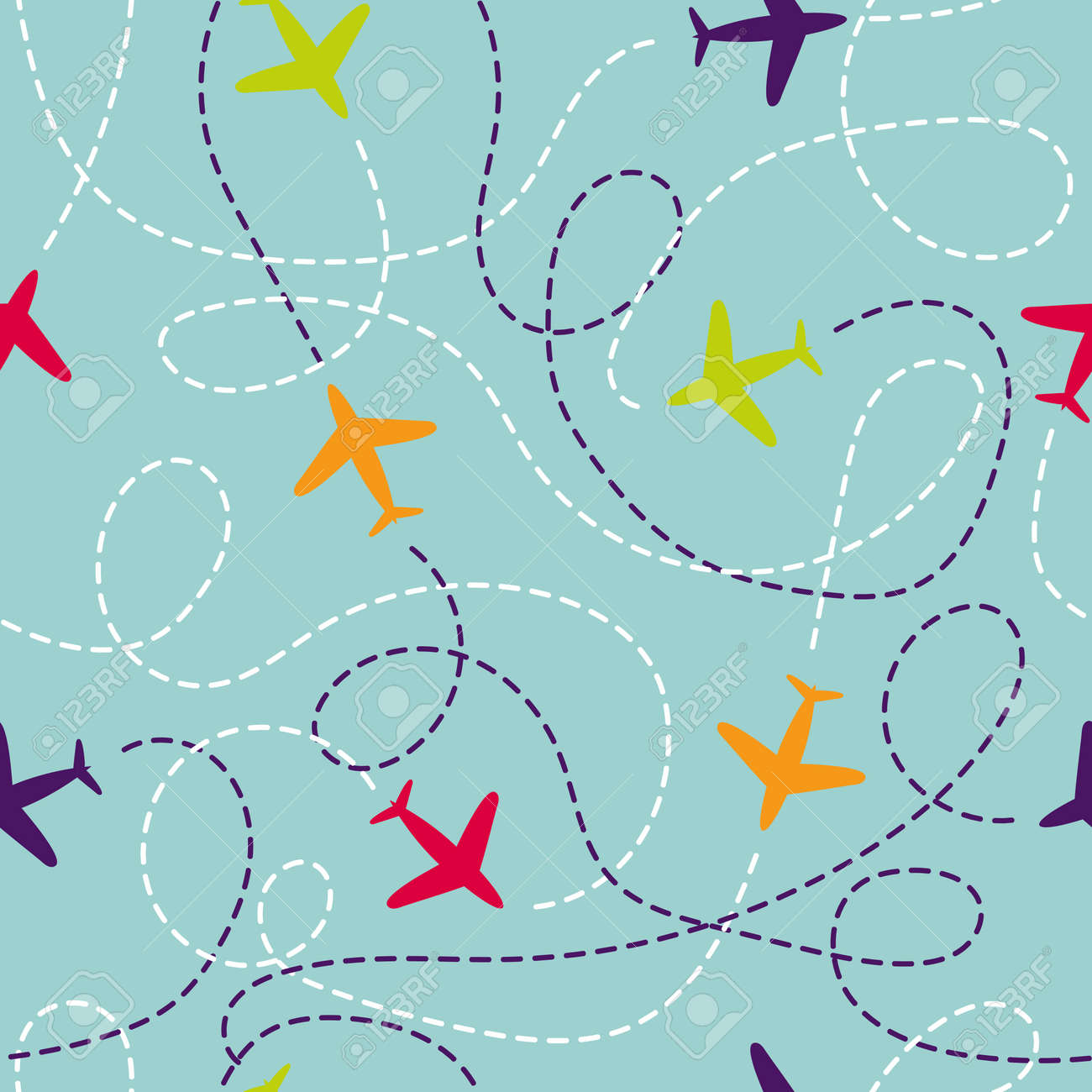 Seamless Pattern With Airplanes Vector Background Colorful Planes Travel Around The World Concept