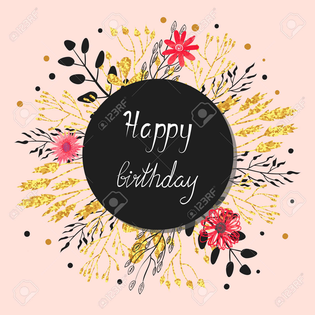 Happy Birthday Card Design Floral Circle Background Vector Round Illustration With Flowers Leaves
