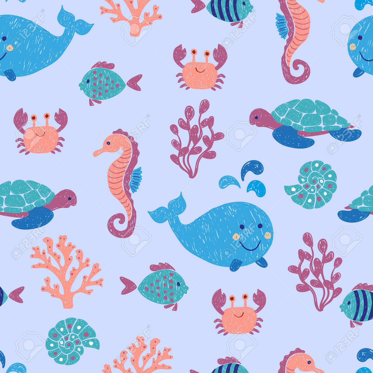 cute sea animals seamless pattern vector background with children