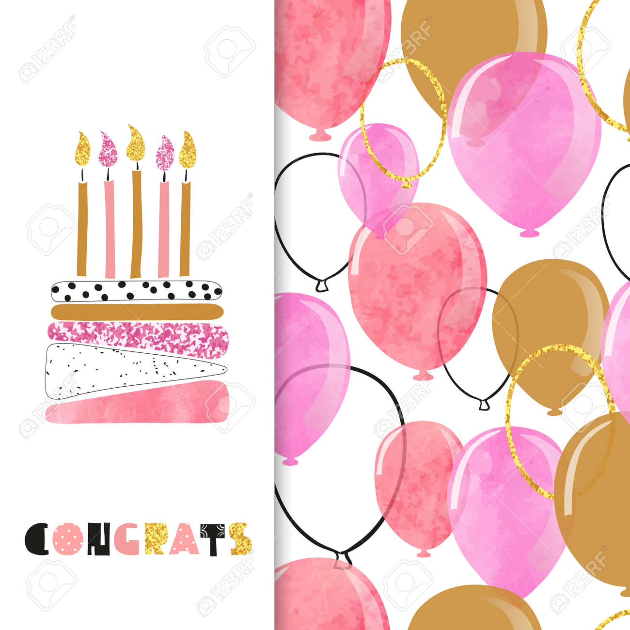 Watercolor Birthday Greeting Card Design In Pink And Golden Colors