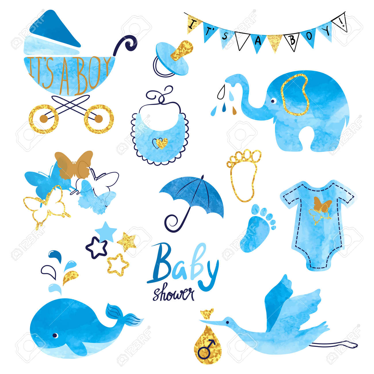 Watercolor Baby Shower boy set. Collection of vector design elements. - 64189542