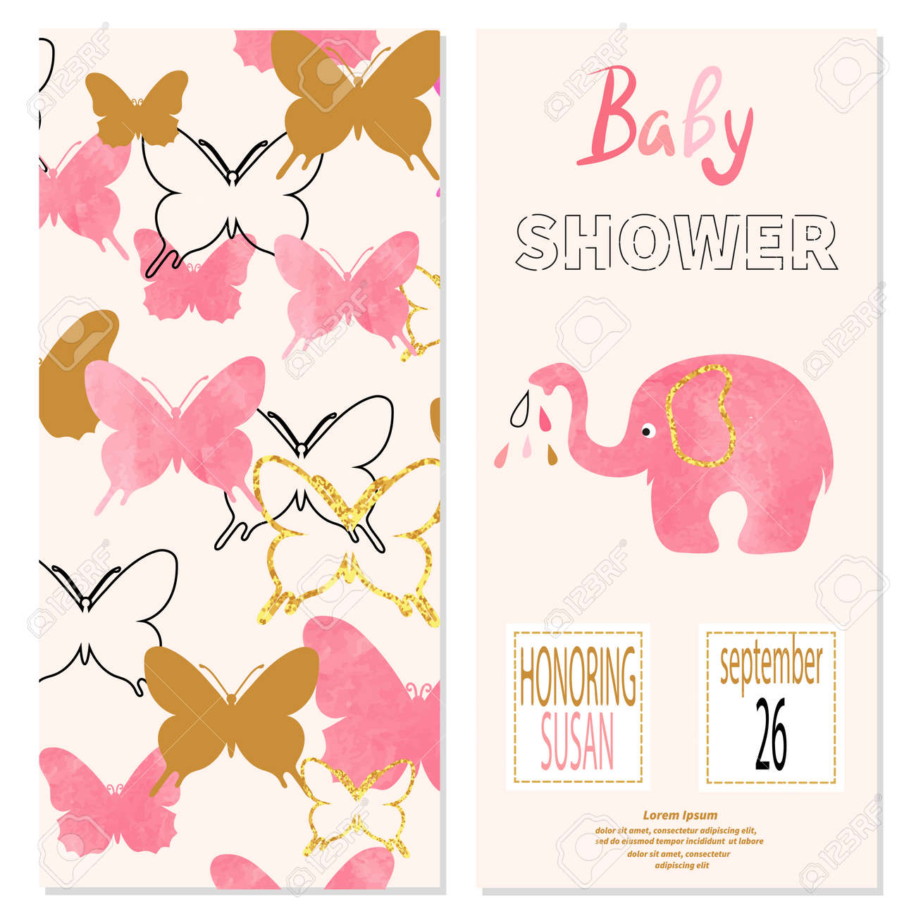 Baby Shower Girl. Vector Invitation Card Design With Butterflies ...