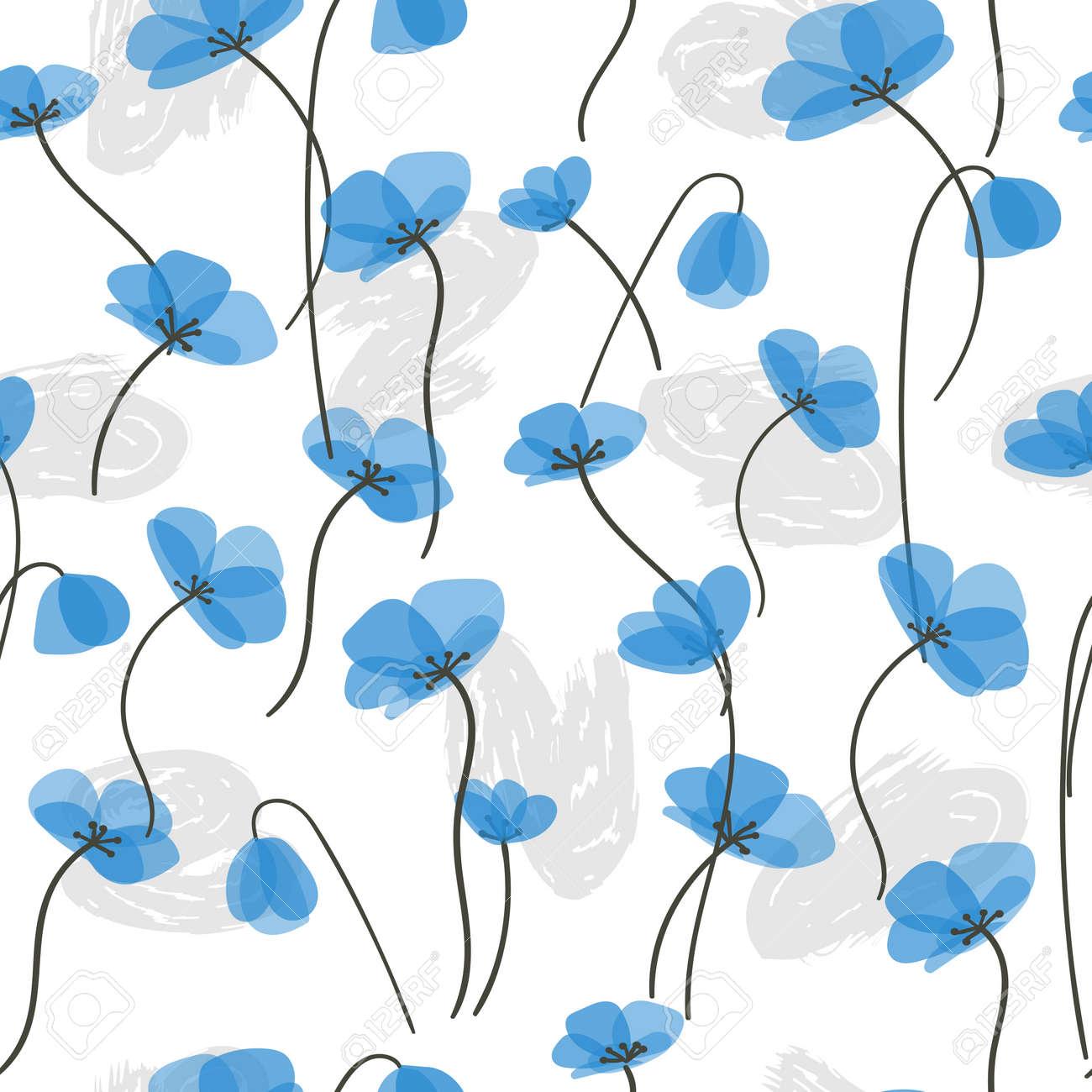 Delicadas Flores Azules Sin Patron Vector Floral De Fondo