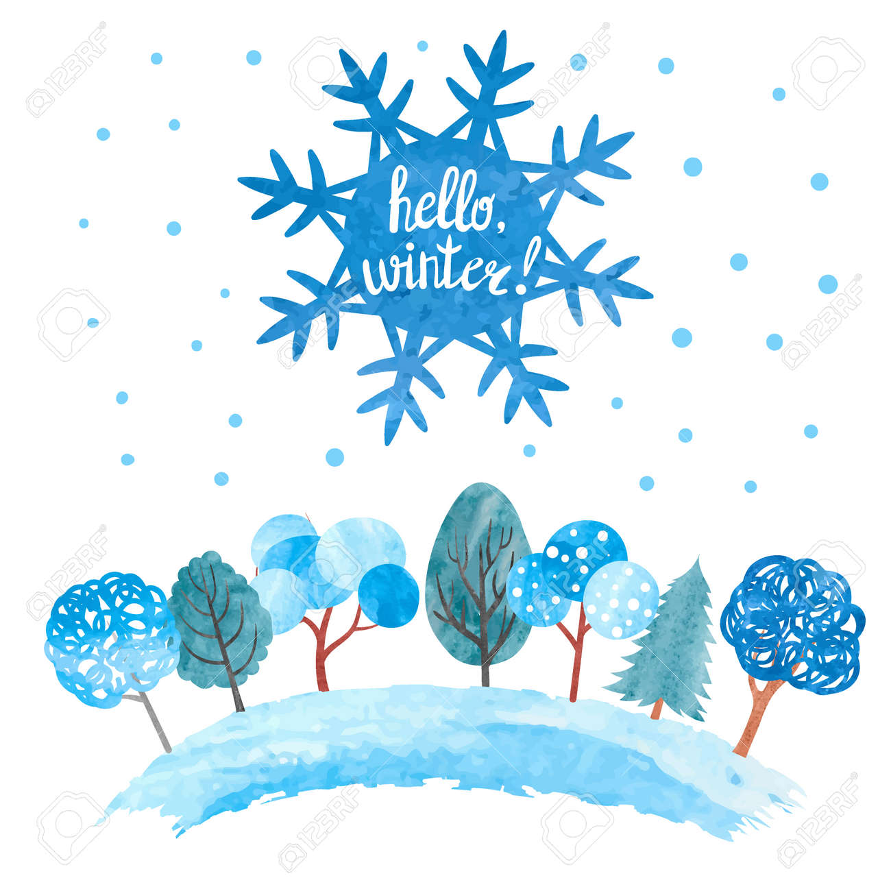 hello winter vector illustration watercolor snowflake and trees rh 123rf com winter vector pattern winter vector pattern