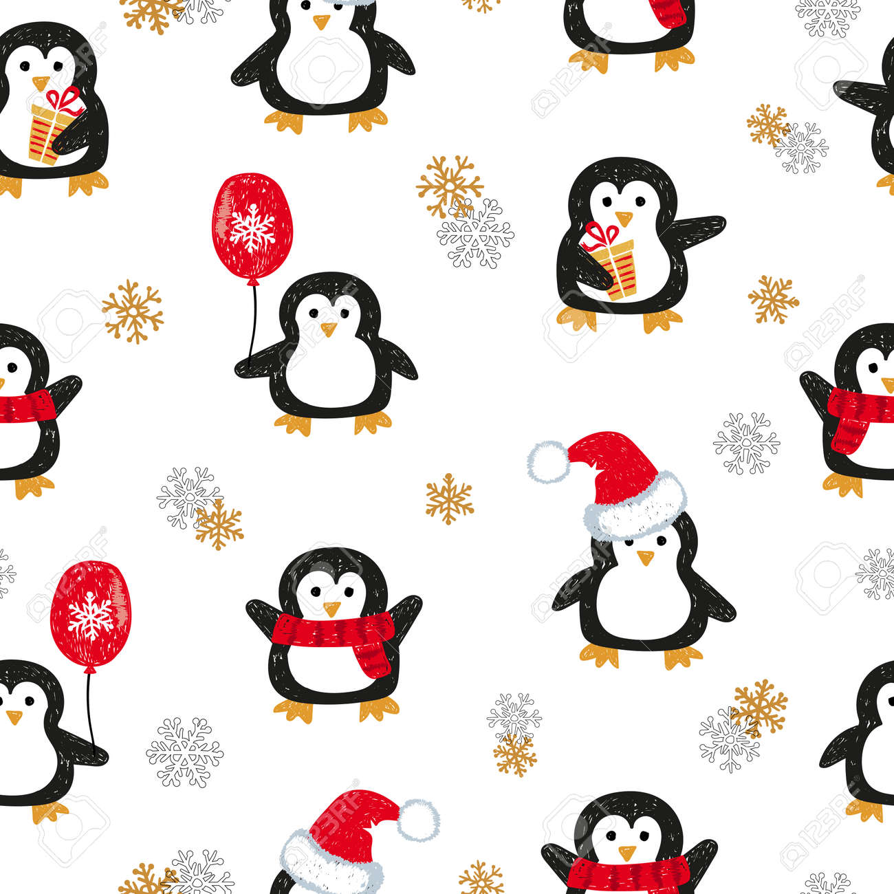 cute christmas penguins seamless pattern vector holiday background