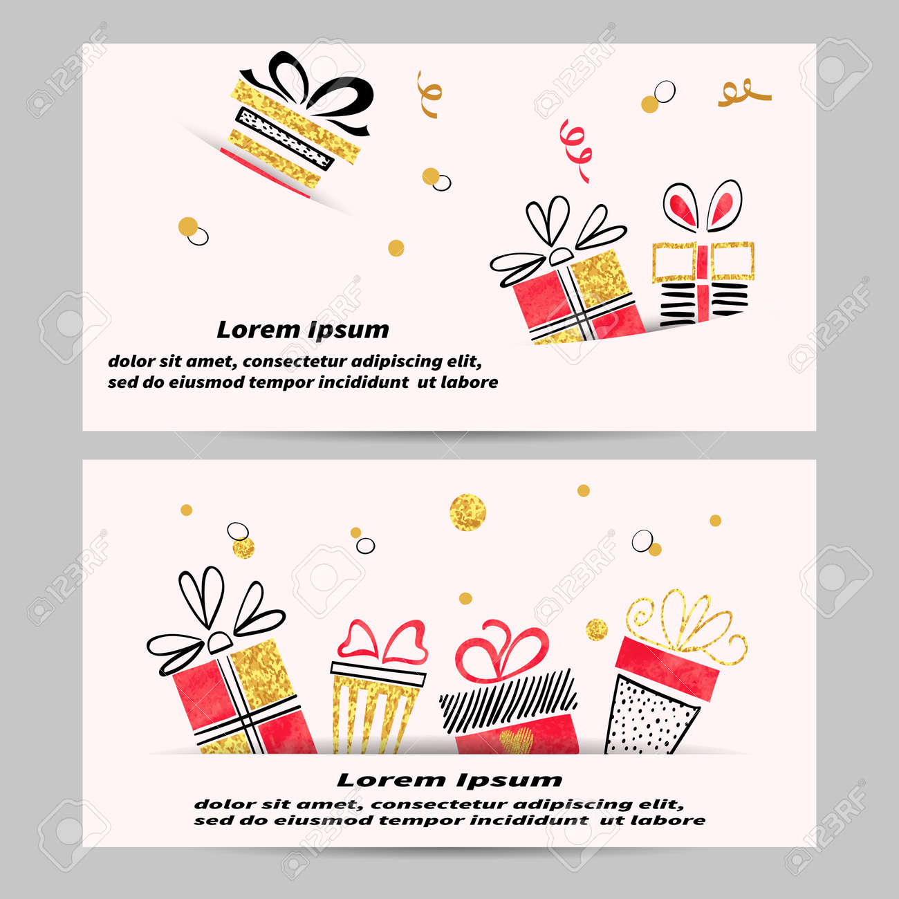 gift voucher template design with hand drawn gift boxes golden