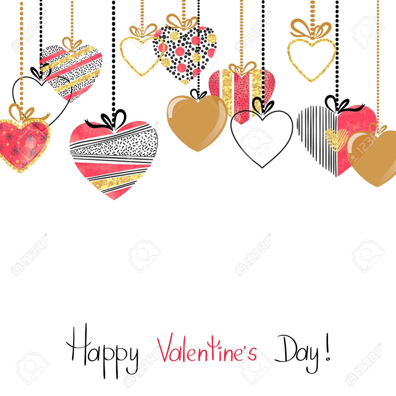 Happy Valentines Day Card With Patterned Hearts Romantic Border